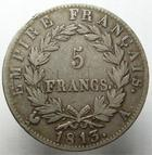 Photo numismatique  Monnaies Monnaies Françaises 1er Empire 5 Francs NAPOLEON Ier, 5 francs 1813 A Paris, G.584 TB à TTB