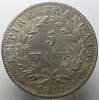 Photo numismatique  Monnaies Monnaies Françaises 1er Empire 5 Francs NAPOLEON Ier, 5 francs 1811 Q Perpignan, G.584 TTB