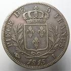 Photo numismatique  Monnaies Monnaies Françaises 1ère Restauration 5 Francs LOUIS XVIII, Pièce de 5 francs, 1815 I Limoge, les cents jours, première restauration, G.591 TTB