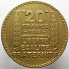 Photo numismatique  Monnaies Monnaies Françaises Troisième République 20 Francs 20 Francs Turin 1933, variété bronze aluminium!!!, rare!! G.852 variante, 19.85 grammes, TTB