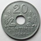Photo numismatique  Monnaies Monnaies Françaises Etat Français 20 Centimes 20 Centimes zinc 1944, G.321 SUPERBE à FDC