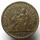 Photo numismatique  Monnaies Monnaies Françaises Troisième République 2 Francs 2 francs Domard 1927, chambre de commerce, G.533 rare! TTB traces de néttoyage