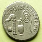 Photo numismatique  Monnaies République Romaine 37 avant Jc, Octavianus, Octave Denier, denar, denario, denarius OCTAVIANUS, OCTAVE, denier 37 avant jc, instruments de culte, 3.58 grammes, SYD.1334 TTB+
