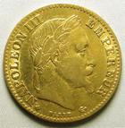 Photo numismatique  Monnaies Monnaies Française en or Second Empire 10 Francs or NAPOLEON III, 10 Francs or lauré 1867 BB Strasbourg, G.1015 TB+
