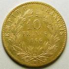 Photo numismatique  Monnaies Monnaies Française en or Second Empire 10 Francs or NAPOLEON III, 10 Francs or lauré 1866 BB Strasbourg, G.1015 TB+