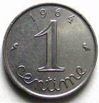 Photo numismatique  Monnaies Monnaies Françaises Cinquième république 1 centimes épi 1 centimes epi 1964 Rebors, G.91 SUPERBE à FDC