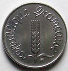 Photo numismatique  Monnaies Monnaies Françaises Cinquième république 1 centimes épi 1 centime epi 1974 Rebors, G.91 SUP à FDC