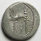 Photo numismatique  Monnaies République Romaine Marcus Antonius 32 avant Jc Denier, denar, denario, denarius MARCUS ANTONIUS, MARC ANTOINE, Denier 32.31 avant Jc, LEG.XI, Galère, 3.63 grammes, RSC.39 TB à TTB