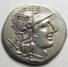 Photo numismatique  Monnaies R�publique Romaine 135 av Jc Denier, denar, denario, denarius L.TREBANIUS, Denier 135 avant Jc, t�te casqu�e de Rome, 3.89 grammes, RSC.Trebania 1 petites concr�tions au revers sinon SUPERBE