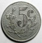 Photo numismatique  Monnaies Anciennes colonies Françaises Algerie, Algeria Alger ALGER, 5 centimes 1921, Chambre de commerce d'Alger, E.10.16 TTB