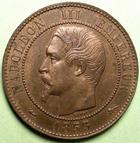 Photo numismatique  Monnaies Monnaies Françaises Second Empire 10 Centimes NAPOLEON III, 10 centimes tête nue, 1853 D Lyon, G.248 TTB+