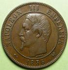 Photo numismatique  Monnaies Monnaies Françaises Second Empire 10 Centimes NAPOLEON III, 10 centimes tête nue, 1856 B Rouen, G.248 Quasi SUPERBE