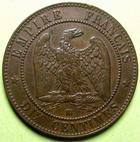 Photo numismatique  Monnaies Monnaies Françaises Second Empire 10 Centimes NAPOLEON III, 10 centimes tête nue, 1855 BB Strasbourg, Ancre,  G.248 TTB+