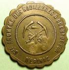 Photo numismatique  Monnaies Jetons Numismatique des mines Pain, Viande, Soupe, Boisson SA des houillères et du chemin de fer d'Epinac, Viande, contremarqué 25, laiton, TTB+