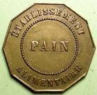 Photo numismatique  Monnaies Jetons Numismatique des mines Pain, Viande, Soupe, Boisson SA des houillères et du chemin de fer d'Epinac, Pain, jeton en laiton, TTB à SUPERBE