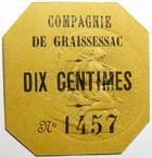 Photo numismatique  Billets Billets de la 1ère guerre mondiale Numismatique des mines Carton MINES DE GRAISSESSAC, Carton de Dix centimes, tampon sec, octogonal, traces de gommette au revers, SUPERBE+