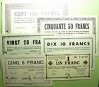 Photo numismatique  Billets Billets d'Alsace - Moselle Mulhouse 1940 MULHOUSE, serie de 6 billet emis le 17.Juin 1040, du 1 franc au 100 francs, annulé par perforation, petites rousseurs sur le 50 frs sinon SPL à NEUF