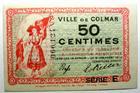 Photo numismatique  Billets Billets d'Alsace - Moselle Colmar Commission Municipale COLMAR, émission du 15 Décembre 1918, La commission Municipale, 50 Centimes, Série E, numéros du billet à 3.5mm de haut, SPL