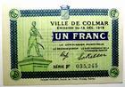 Photo numismatique  Billets Billets d'Alsace - Moselle Colmar Commission Municipale COLMAR, Un Franc, émission du 15 Décembre 1918, La commission Municipale, série F, SPL