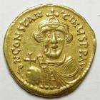 Photo numismatique  Monnaies Monnaies Byzantines 7ème siècle Solidus CONSTANS II, Solidus frappé à Constantinople en 641.668, Croix, 4.35 grms, Ratto.1511, petit manque de métal sur la joue sinon TTB+