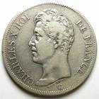 Photo numismatique  Monnaies Monnaies Françaises Charles X 5 Francs CHARLES X, 5 francs 1825 D Lyon, G.643 TTB