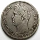 Photo numismatique  Monnaies Monnaies Fran�aises Charles X 5 Francs CHARLES X, 5 francs 1829 D Lyon, G.644 TTB