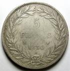 Photo numismatique  Monnaies Monnaies Fran�aises Louis Philippe 5 Francs LOUIS PHILIPPE, 5 Francs 1830 MA Marseille, tranche en creux, G.676 n�ttoy� sinon TB+