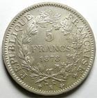 Photo numismatique  Monnaies Monnaies Fran�aises Troisi�me R�publique 5 Francs 5 francs type Hercule 1878 K Bordeaux, G.745a TTB+