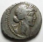 Photo numismatique  Monnaies République Romaine 42 av Jc Denier, denar, denario, denarius P.CLODIUS Mf.TURRINUS, Denier 42 avant Jc, tête lauré d'apollon, Diana Lucifera, 3.38 Grms, RSC.Claudia 15 TB à TTB