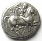 Photo numismatique  Monnaies Monnaies grecques Calabre, Tarente Statère CALABRE, TARENTE, Statère 272.240 avant Jc, Phalanthos nu chevauchant un dauphin, tête de nymphe, 6.48 Grms, Vlasto.878 flan court sinon SUPERBE