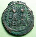 Photo numismatique  Monnaies Monnaies Byzantines 6ème siècle Follis, folles,  JUSTIN II, et Sophie, follis Constantinople, 565.568 après Jc, 13.06 Grammes, MIB.43 TTB