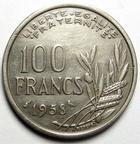 Photo numismatique  Monnaies Monnaies Françaises 4ème république 100 Francs 100 Francs Cochet 1958 Chouette, G.897 traces de néttoyage sinon TTB R!