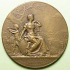 Photo numismatique  Monnaies Médailles Concours de Tir Médaille bronze HERICOURT, Concours fédéral de tir, 1908, Médaille en bronze de 46 mm, poinçon triangle:roue à 4 rayons, SUPERBE