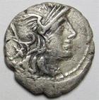 Photo numismatique  Monnaies R�publique Romaine 134 av Jc Denier, denar, denario, denarius TI.MINUCIUS CF AUGURINUS, Denier 134 avant Jc, t�te casqu�e de Rome, personnages en toge et colone ionic, 3.41 Grms, RSC.9 Minucia 9 TB+