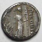 Photo numismatique  Monnaies République Romaine Claudia 42 avant Jc Denier, denar, denario, denarius P.CLODIUS Mf TURRINUS, Denier 42 avant Jc, tête laurée d'Apollon, Diana lucifera, 3.85 Grms, RSC.Claudia 15 TB+