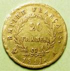 Photo numismatique  Monnaies Monnaies Française en or 1er Empire 20 Francs or NAPOLEON Ier, 20 francs or 1811 A, G.1025 TTB
