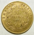 Photo numismatique  Monnaies Monnaies Française en or Second Empire 10 Francs or NAPOLEON III, 10 francs or lauré, 1864 A Paris, G.1015 TB à TTB