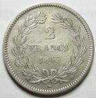 Photo numismatique  Monnaies Monnaies Fran�aises Louis Philippe 2 Francs LOUIS PHILIPPE Ier, 2 francs 1845 BB Strasbourg, G.520 portrait retouch� sinon TTB+