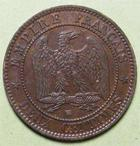 Photo numismatique  Monnaies Monnaies Françaises Second Empire 2 Centimes NAPOLEON III, 2 centimes tête nue 1855 BB Strasbourg, chien, G.103 TTB+