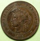 Photo numismatique  Monnaies Monnaies Françaises Troisième République 10 Centimes 10 centimes Cérès 1872 A, G.265a TTB à SUPERBE