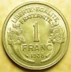 Photo numismatique  Monnaies Monnaies Fran�aises Troisi�me R�publique 1 Franc 1 franc Morlon 1938, G.470 TTB+
