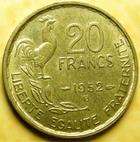 Photo numismatique  Monnaies Monnaies Françaises 4ème république 20 Francs 20 francs Guiraud 1952 B, G.865 TTB à SUPERBE