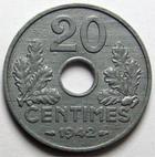 Photo numismatique  Monnaies Monnaies Françaises Etat Français 20 Centimes 20 centimes zinc 1942, G.321 SUPERBE+