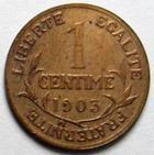Photo numismatique  Monnaies Monnaies Françaises Troisième République 1 Centime 1 centime Dupuis 1903, G.90 TTB+