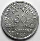 Photo numismatique  Monnaies Monnaies Françaises Etat Français 50 Centimes 50 centimes Bazor 1944 C, Aluminium, G.425 TTB à SUPERBE