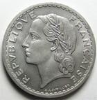 Photo numismatique  Monnaies Monnaies Françaises Gouvernement Provisoire 5 Francs 5 francs Lavrillier 1945, Aluminium, G.766 SUPERBE