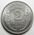 Photo numismatique  Monnaies Monnaies Françaises Cinquième république 2 Francs 2 francs Morlon 1959, Aluminium, G.538c SUPERBE+