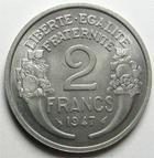 Photo numismatique  Monnaies Monnaies Françaises 4ème république 2 Francs 2 francs Morlon 1947, Aluminium, G.538b SUPERBE+