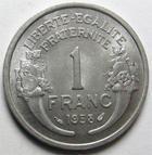Photo numismatique  Monnaies Monnaies Françaises 4ème république 1 Franc 1 franc Morlon 1958, Aluminium, G.473b Petites traces sinon SUPERBE
