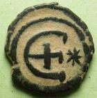 Photo numismatique  Monnaies Monnaies Byzantines 6ème siècle Pentanummium JUSTINIANUS, JUSTINIEN, 527.565, Pentanummium Antioche, 1.07 grammes, Sear.244 TTB